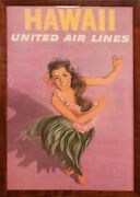 1950's Hawaii United Airlines Promotional Poster