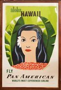 1950and039s Aloha Hawaii Fly Pan Am Promotional Poster