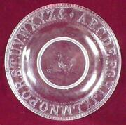 Abc Plate Rooster Chicken Alphabet King Son And Co. Glass Eapg 1870s Antique 7