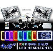 4x6 Rf Color Change Rgb Smd Halo Angel Eye Headlight 40w 6k Led Light Bulb Pair