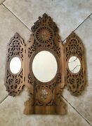 Ornate Antique Danish Fretwork Shaving Mirror With Florals And Cherubs Trifold