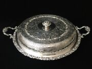 Ellis Barker Silver Plate Lidded Serving Tray Divided Glass Insert Dish W/handle