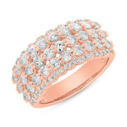 Womens 1.83 Ct 14k Rose Gold Natural Round Cut Diamond Ring Wide Band 5 Rows