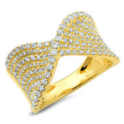 0.99 Ct 14k Yellow Gold Round Diamond Pave Twist Ribbon Crossover Cocktail Ring