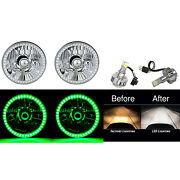 5-3/4 Green Smd Angel Eye Halo 6500k 24w Led Bulb Crystal Clear Headlight Pair