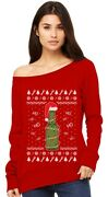 Ugly Christmas Sweater Beer Pong Holiday Party Off Shoulder Sweatshirt Funny