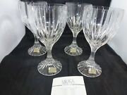 Set Of 4 New Mikasa Crystal Park Lane Water Goblets 6 3/4andrdquo X 3 1/4andrdquo