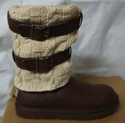 Ugg Chocolate Brown Cassidee Tall Cable Knit Boots Size Us 7,eu 38 New 1007691