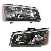 Headlights Headlamps Left And Right Pair Set For Silverado Avalanche Pickup Truck