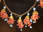 Rare Vtg Miriam Haskell Spezzati Coral And Turquoise Necklace