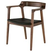24 W Kylan Dining Chair Top Grain Leather Seat Natural Solid Walnut Frame
