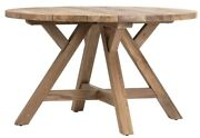 51 Dia. Leila Dining Table Recycled Teak Wood Indoor Outdoor Use Wooden Legs