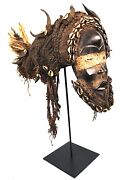 Art African - Mask Dan With Coiffe Traditional - Base On Gauges - 63 Cms