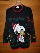 Vinatge Snoopy Peanuts And Friends Black Christmas Knit Sweater