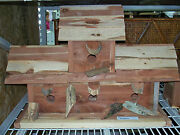 Large 4 Bay Ceder Bird House Hand Crafted One Of A Kind Log Cabin Rustic Look