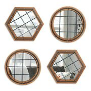 4pcs Wall Mounted Mirror Industrial Style Metal Frame Cage Front Home Dandeacutecor New