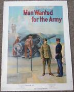 Wwi Us Army Poster Men Wanted For The Army Coastal Shore Guns Variation