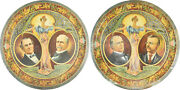 1900 Pair Of Graphic 12 Mckinley And Bryan Tin Trays-scarce Vg+/exc Minor Flaws