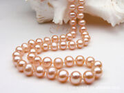 9-10 Mm Round Natural South Sea Pink Pearl Necklace 18 Inches