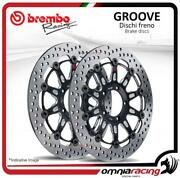 Pair Of Brembo The Groove Front Brake Discs 320mm For Benelli Tnt 2005