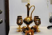 8 Piece Murano Venetian Glass Decanter And Goblet Set Amethyst And Gold