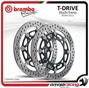 Pair Of Front Brake Discs Brembo T Drive 320mm For Honda Cbr600rr /abs 2003