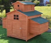 Large 63 Deluxe Solid Wood Hen Chicken Cage House Coop Huge W/ Ramp Nesting Box