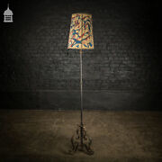 Mid Century Wrought Iron Standard Lamp With Scroll Detail And Colourful Shade