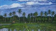 Tropical Landscape Painting Bali Indonesia Rice Fields Original Signed Painting