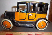 Vintage Windup Tin Toy 1925 Greppert And Kelch American Yellow Cab Made In Germany