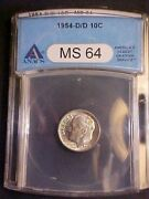 1954-d/d Rpm Roosevelt Dime - Anacs Ms64 - Great Variety - Aa228uhxx