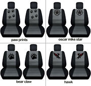 Front Car Seat Covers Blk-charcoal W/punisher, Hawk,for Grand Cherokee2005-2018