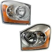 Headlights Headlamps Left And Right Pair Set New For 04-05 Dodge Durango