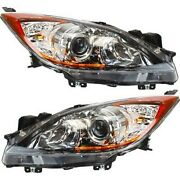 Headlight Set For 2012-2013 Mazda 3 And 3 Sport Left And Right Capa 2pc