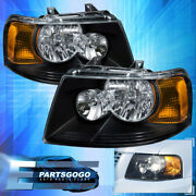 For 03-06 Ford Expedition Black Housing Amber Replacement Headlights Lamps Pair