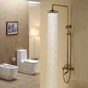 Antique Brass Vintage Wall Mounted Shower Head Andhandshower Set Tub Mixer Faucet