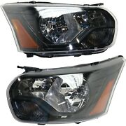 Headlight Set For 2015-2016 Ford Transit-250 Left And Right Black Housing 2pc