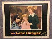 The Lone Ranger 1956 Orig. Lobby Card 2 11x14 F/vf Signed By Clayton Moore