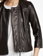 Bnwt Helmut Lang Cropped Lamb Leather Jacket Silver Zip Detail 3/4 Sleeve