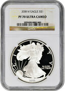 2008-w American Silver Eagle Proof - Ngc Pf70 Ucam