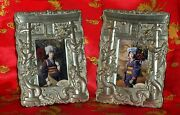 Vintage Set Japanese Picture Frames Silver Plate Dragons And Torii Arch Dai Nippon