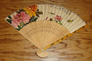 Vintage Antique Chinese Pierced Carved Wood And Paper Hand Fan Floral Pattern