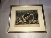 Original Currier And Ives Print Maple Sugaring Early Spring Old/new 50