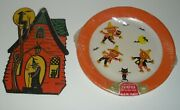 Halloween Lot 1960and039s Sealed Party Plates Scarecrow And 1930and039s Beistle Witch Hanger