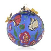 Jay Strongwater Floral And Butterfly Artisan Ball Ornament Elements New