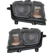 Headlight Set For 2010-2015 Chevrolet Camaro Left And Right Hid With Bulb 2pc