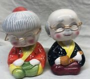 Large 5 Pair Of Chinese Clay Zhang Pottery Old Couple Bobblehead Coin Banks