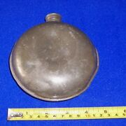 Vintage Pewter Flask Round Hip Flask Hunting Possibly