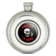 Creepin' It Real Keeping Skull Funny Humor Round Stainless Steel 5oz Hip Flask