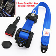 Retractable 3-point Car Safety Belt Seat Strap Buckle Metal Plate Truck Suv Rv